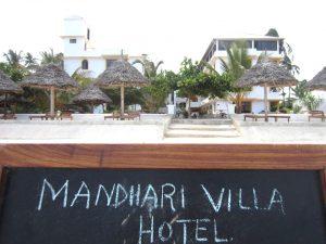 Mandhari Villa beach blackboard